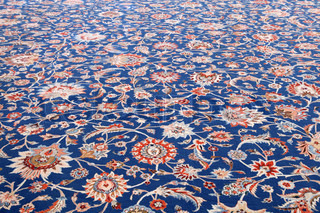 Beautiful carpet inside of the Sultan Qaboos Grand Mosque in Muscat, Oman