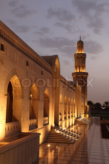 Grand Mosque in Muscat illuminated at night
