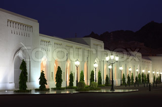 Palace illuminated at night, Muscat, Sultanate of Oman