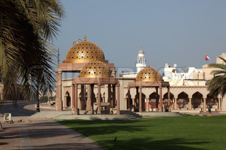 Pavilions with golden cupola in Muttrah, Sultanate of Oman