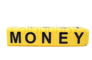 An image of yellow blocks with word ''money'' on them