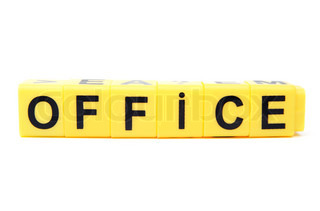 An image of yellow blocks with word ''office'' on them