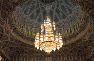 Beautiful chandelier of the Sultan Qaboos Grand Mosque in Muscat, Oman