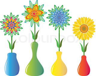 vector flowers in vases