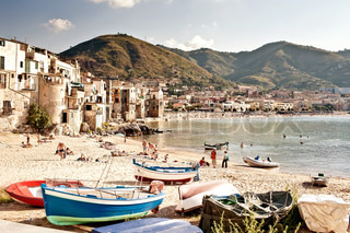 Old fishing town Cefalu town, Sicily, Italy