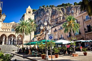 Main square in Cefalu town, Sicily Italy