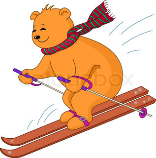 Teddy-bear goes for a drive on the mountain skiing, isolated