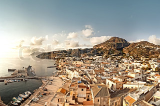 Lipari historic town from above,