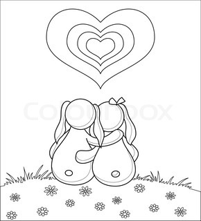 Valentine vector picture: rabbits lovers on flower meadow under heart, contour