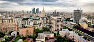 Aerial Moscow city view on Arbat Street