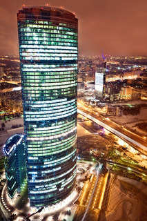 Aerial view on the Moscow International Business Center at night