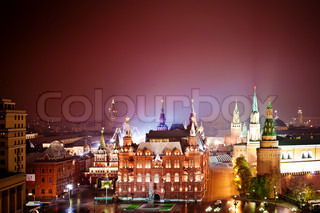 Red Square and Kremlin at night, aerial view