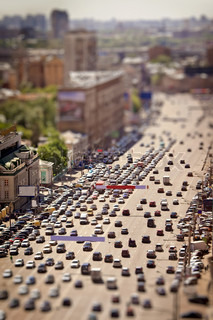 Aerial Moscow traffic jam view with tilt-shift effect