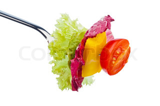 salad and vegetables on a fork healthy diet with organic food