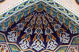 Beautiful mosaic inside of the Sultan Qaboos Grand Mosque in Muscat, Oman