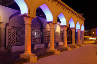 Archway illuminated at night, Muscat Sultanate of Oman