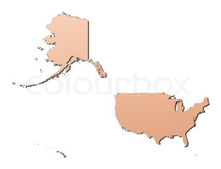 United States light brown map