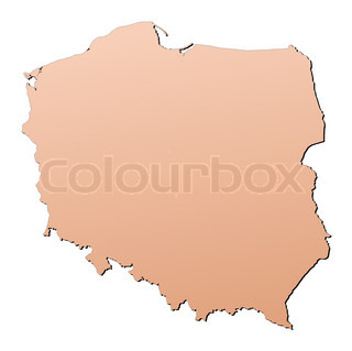 Poland map filled with brown gradient Mercator projection