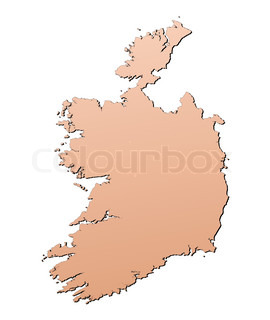 Ireland map filled with brown gradient Mercator projection
