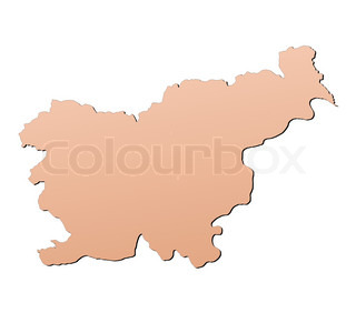 Slovenia map filled with brown gradient Mercator projection
