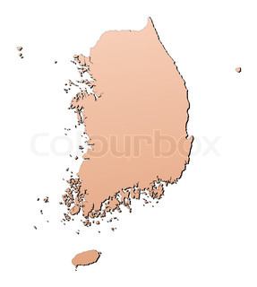 South Korea map filled with brown gradient Mercator projection