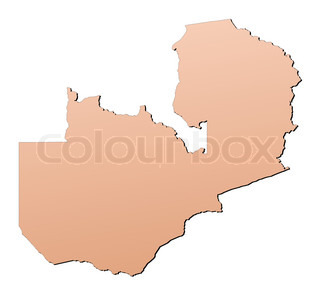 Zambia map filled with brown gradient Mercator projection