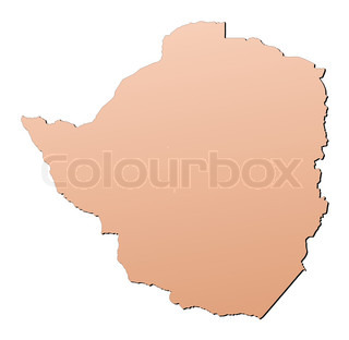Zimbabwe map filled with brown gradient Mercator projection