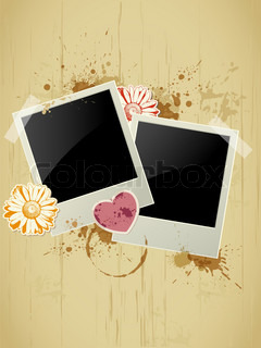 Photo frame with heart and flower on a grunge background for Valentine's Day