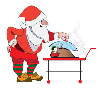 Santa lifts the lid on the dish with a festive Christmas turkey for his dinner