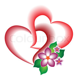 A decorative element of the two intertwined hearts and flowers for 