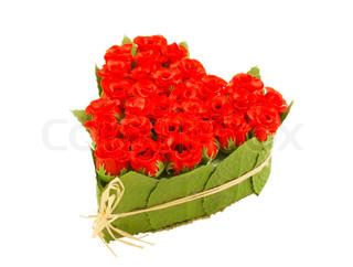 Heart shaped bouquet of roses isolated on white