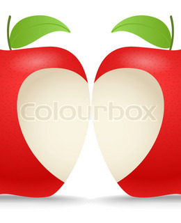 Two apples with abstract heart