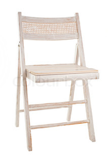Old painted garden chair isolated on white background