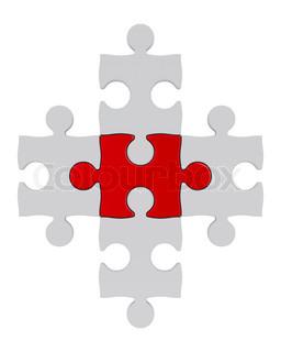 Weiß Puzzle und eine rote