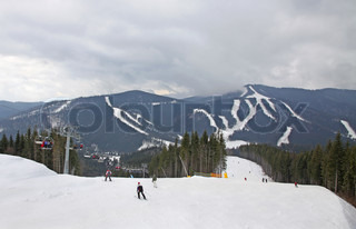 Ski track of Bukovel ski resort, Carpathian mountains, Ukraine