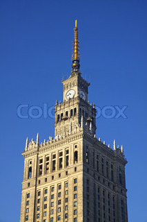 Fragment of tower of Palace of Culture and Science in Warsaw, Poland