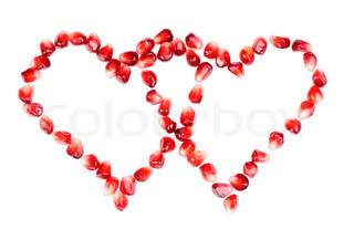 pomegranate seeds as heart shaped