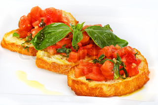 French toast with tomatoes Bruschetta Italian Toasted Garlic Bread with tomato