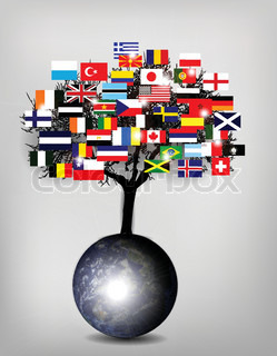 Tree Flags med Jorden Globe