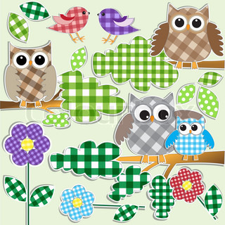 Textile stickers of owls and birds in forest