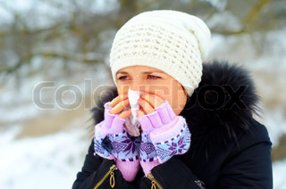 Image of 'flu, handkerchief, winter'