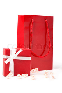 red gift and Gift bag, isolated on white background