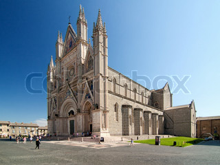 Orvieto is noted for its Gothic cathedral, or duomo The church is striped in white travertine and greenish-black basalt in narrow bands