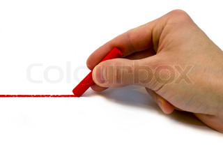 Hand drawing red line, white background