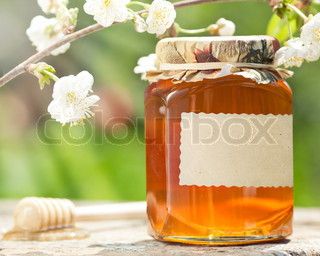 Honey jar with blank paper label, flower and wooden stick on table against green spring natural background