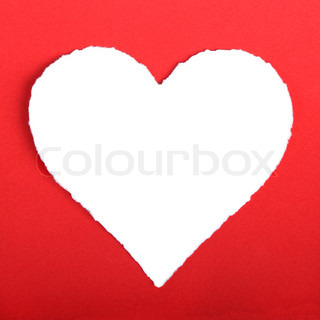 Heart shape symbol over red paper