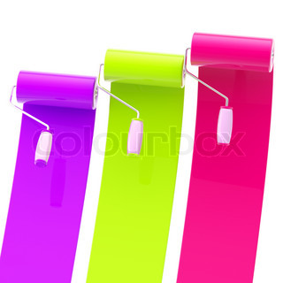 colorful glossy violet green purple bright paint rollers