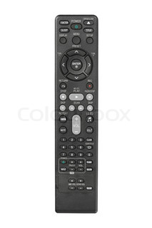 Modern LCD TV remote control isolated on white