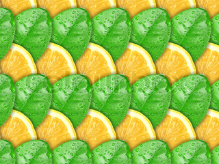 Abstract background with citrus-fruit of lemon slices and green leaf with dew for your design