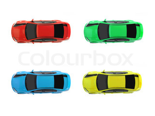 Slot cars isolated on a white background